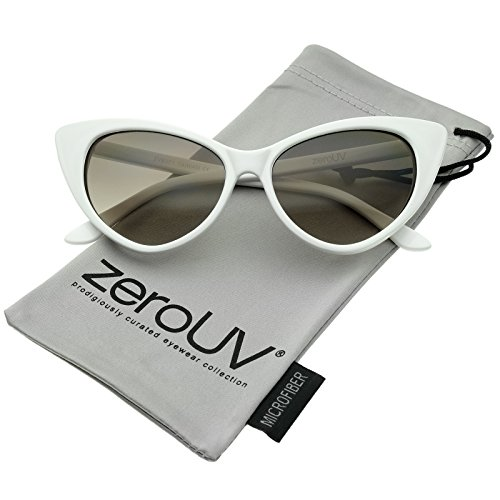 zeroUV - Women's Retro Oversized High Point Cat Eye Sunglasses 55mm (White / Smoke - Eye Cat Oversized Sunglasses