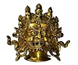 Aone India Tibetan Mahakala Wall Sculpture - Old Vintage Hindu God Shiva Ganesha Wall Decor Hanging Mask, Bali Padmasambhava Nepalese Wall Art (7.5 Inches, Gold) + Cash Envelope (Pack Of 10)
