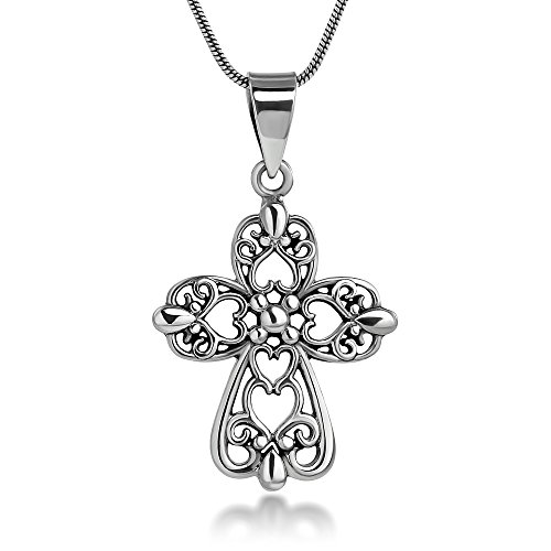 Chuvora 925 Sterling Silver Cut Out Celtic Filigree Design Heart Cross Symbol Pendant Necklace, 18 inches