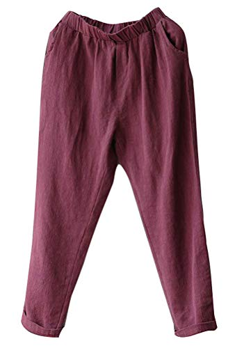 (Soojun Womens Cotton Linen Loose Fit Elastic Waist Harm Pant, WineRed, Large Petite)