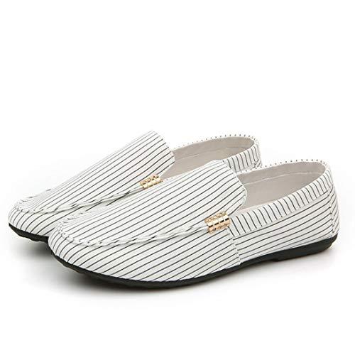 Mode Rayure Chaussures Canvas Casual De Bateau Homme Habillée Ciellte Blanc Conduite Classic xBI4dzqqSw