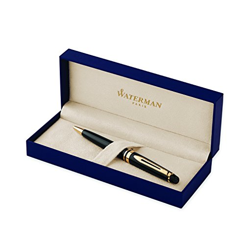 Waterman Expert Black  Ballpoint Pen GT, Medium Point, Blue Ink - S0951700