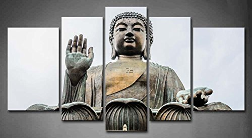 First Wall Art - 5 Panel Wall Art Big Buddha Bronze Statue Painting The Picture Print On Canvas Religion Pictures For Home Decor Decoration Gift piece (Stretched By Wooden Frame,Ready To Hang) by Firstwallart