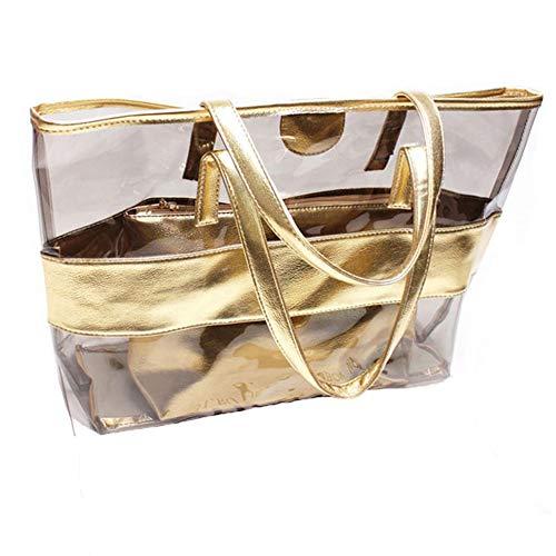 Sling Bag Beach Tote Handbags - KARRESLY 2 In 1 Clear Shoulder Bag PVC Waterproof Travel Bag Beach Handbag Gym Sports Cosmetic Tote Bag Purse(gold)