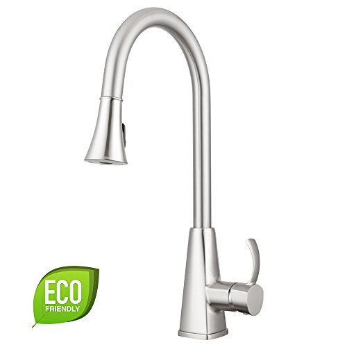 Bridgeport Pull Down Kitchen Faucet by Pacific Bay (Brushed Satin Nickel) - Features Multiple Spray Functions, and an Eco Friendly Water and Energy Saver - New 2018 (Spray Satin Nickel Kitchen)