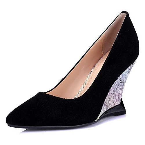 AllhqFashion Womens Imitated Suede Solid Pull-on Pointed Closed Toe High-Heels Pumps-shoes Black