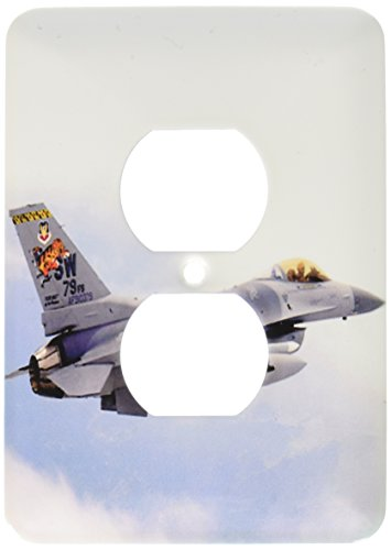 813 Six Light - 3dRose lsp_813_6 F-16 Jet Aircraft 2 Plug Outlet Cover