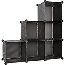 Lightweight Portable Shelf Wardrobe Storage Bins Organizer / Cabinet Basket Shelf | Household Cubeic Organization | Easy Assembly DIY-6 Cube | Flexible 1,2,3,4,5,6 Tiers | Offices Box Declutter