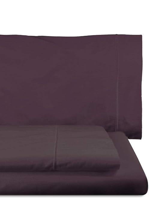 Home Royal - Juego de sábanas Compuesto por encimera, 160 x 285 cm, Bajera Ajustable, 90 x 200 cm, Funda para Almohada, 45 x 110 cm, Color Violeta