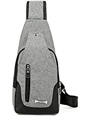 Elonglin Unisex Sling Bag Multipurpose Daypack Chest Bag Satchel Canvas Shoulder Chest Crossbody Bag with USB Charging Port