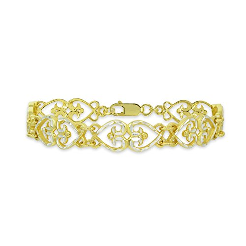 (Two-Tone Yellow Gold Flashed Sterling Silver Filigree Hearts Diamond-Cut Link Bracelet)