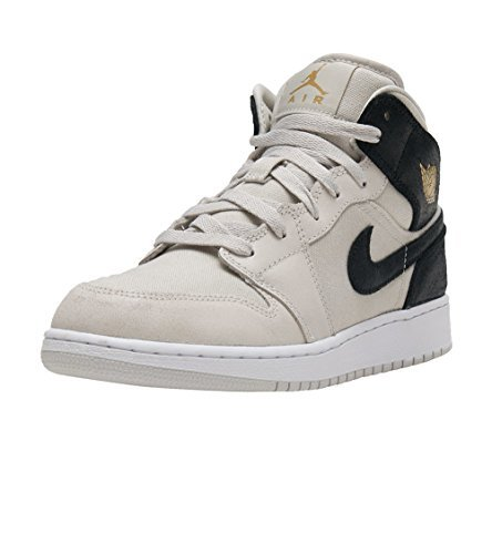 Nike AIR JORDAN 1 MID BG mens fashion-sneakers 554725-023_6.5Y - LIGHT BONE/METALLIC GOLD-BLACK-WHITE by NIKE
