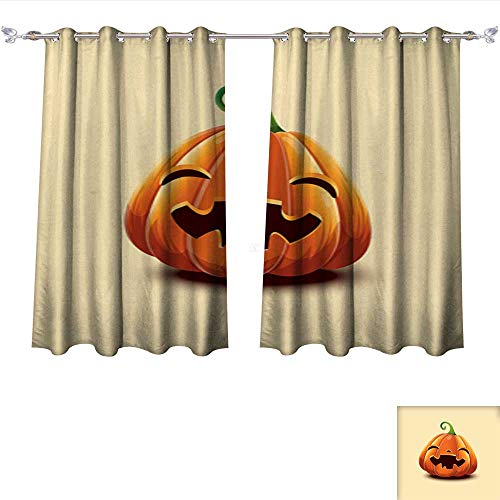 DragonBui Decor Curtains by Realistic Vector Halloween Pumpkin Happy face Halloween Pumpkin Isolated on Light Background 1 Adjustable Tie Up Shade Rod Pocket Curtain W96 x -
