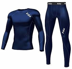 FDX Mens Compression Armour Base Layer Top Skin Fit Shirt + Leggings/Pants Set
