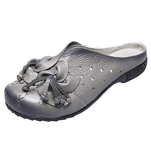 ◕‿◕Watere◕‿◕ Baotou Slippers,Womens Summer Slippers Hollow Ethnic Style Casual Shoes Flat Bottom Flower Shoes Gray -