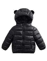 Kids Baby Down Jacket Unisex Hoodie Puffer Coat Winter Windproof Padded Jacket