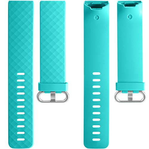 Wepro Waterproof Bands Compatible with Fitbit Charge 4 / Charge 3 / Charge 3 SE for Women Men, 3-Pack Replacement Wristbands for Fitbit Charge 3 / Charge 4, Large, Teal, Navy Blue, Plum