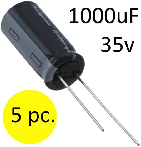 5 pc. 1000uF 35V Radial Lead Aluminum Electrolytic Capacitors For Repairing LCD TVs and Consumer Electronics