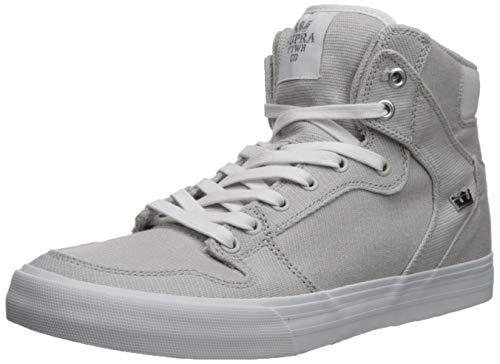 Supra Vaider Skate Shoe, Cool Grey/Silver - White, 10 Regular US