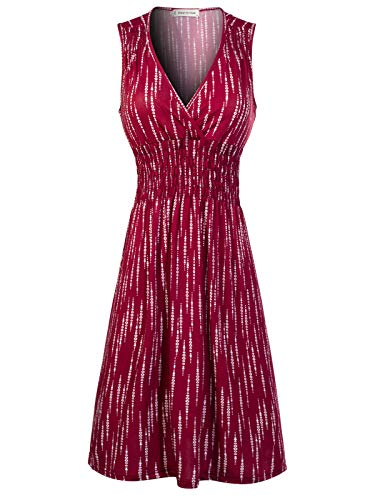 Design by Olivia Women's Deep V Neck Princess Seamed Casual Flared Midi Print Dress Burgundy M