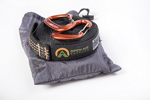 Open Air Supplies Hammock Tree Strap Set With 12KN Aluminum Carabiners (Orange) by Open Air Supplies