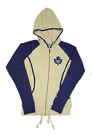Toronto Maple Leafs Old Time Hockey Cream & Blue Mel Full Zip Fleece Hoodie (Womens XL) - Full Zip Hockey Hoody