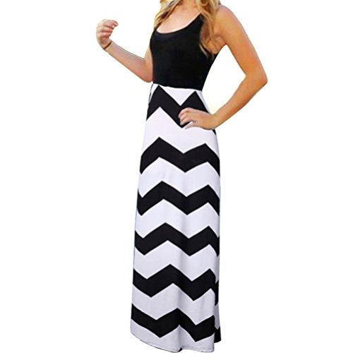 Chuangxiangt Womens Fashion Casual Sleeveless Scoop Neck Wave Striped Tank Maxi Long Dress (L, Black+White)
