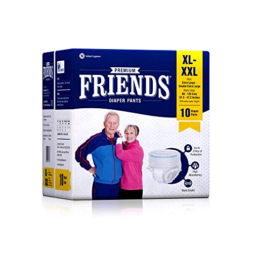 Friends Premium Adult Diapers Pant Style – 10 Count -XL- with odour lock and Anti-Bacterial Absorbent Core- Waist Size…