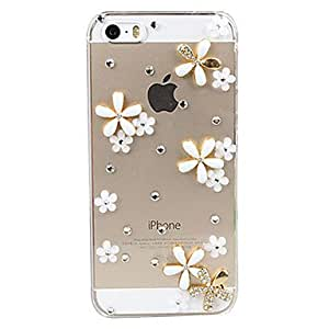 LCJ 3D Flowers Decorated Transparent Back Case for iPhone 5/5S