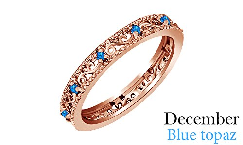 December Birthstone Round Cut Blue Topaz Stackable Ring - December Birthstone Promise Rings