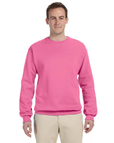 Jerzees Men's Ribbed Collar With Spandex Sweatshirt, XX Large, Neon Pink ()