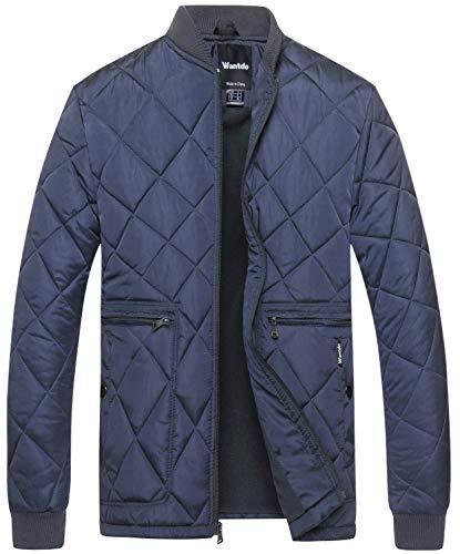 Wantdo Men's Quilted Bomber Jacket Warm Padded Outdoor Diamond Puffer Coat Navy Mediun