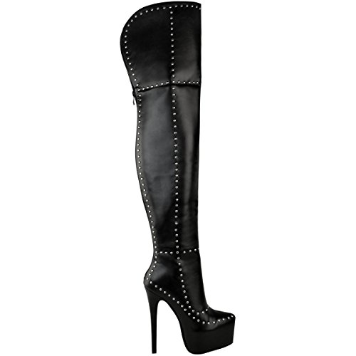 Goth Faux Punk Boots High Size Sexy Platform Thirsty Black Leather Fashion Stiletto Thigh Studded Womens OxvqHnnCwB