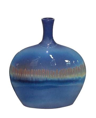 Amazon Utc 25021 Blue Ceramic Vase With 2 Tone Finish Home