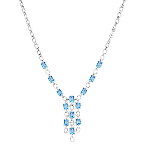 Orchid Jewelry 15.80 Ct Octagon Blue Topaz and Garnet 925 Sterling Silver Pendant for Women: Nickel Free Beautiful and Stylish Birthday Gift for Mother and Wife