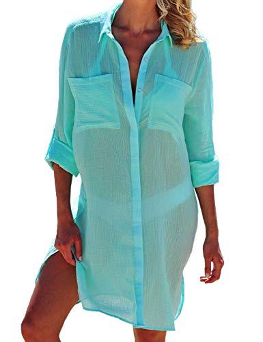 - Women Sexy Vogue Button Down Shirts Crinkle Chiffon Bathing Suit Cover up Beachwear (Blue)