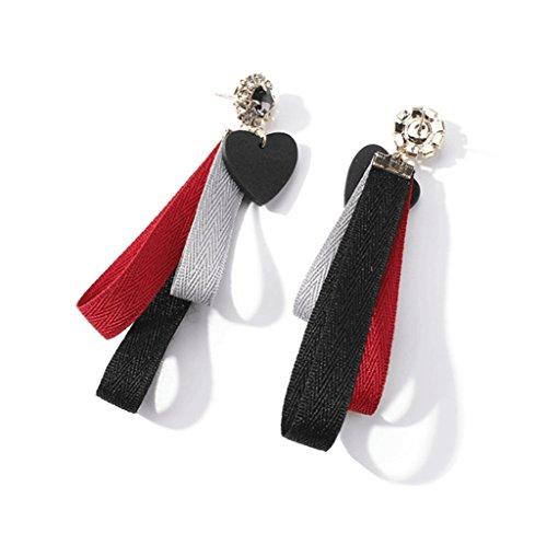 rrings Loving Heart Fabrics Earrings Long Tassel Earrings Personality Big Eardrop Crystal Earrings (Red Fabrics-15) (Loving Heart Earrings)