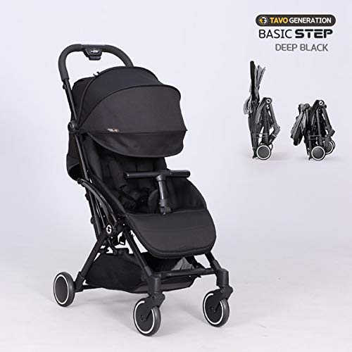 TAVO Basic Step 2019 Lightweight & Compact Foldable Stroller with Umbrella, Shoulder Strap (Deep Black)