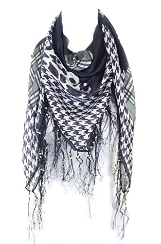 - Houndstooth with cheetah and check print square fringe 100% silk scarf (SYX001_blk)
