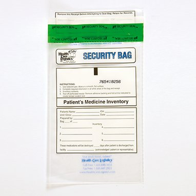Health Care Logistics 10446 Patients Medicine Inventory Bag, 6 x 9, Clear by Health Care Logistics