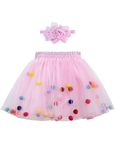 Zcaynger Infant Baby Girls Tutu Skirt 4 Layers Soft Tulle Puff Ball Dress for Toddler Girls with Headband ()