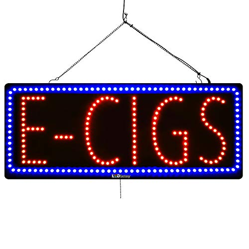 Large LED Window Open Sign - E-CIGS - Extra Bright, Can be seen Through Tinted Windows - 13