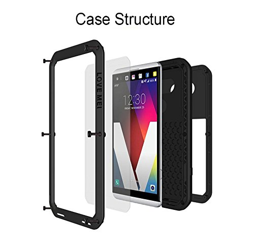 LG V30 V35 Waterproof Case, Hwota Shockproof Waterproof Dust/Dirt/Snow Proof Aluminum Metal Case Heavy Duty Protection Case Cover for LG V30 V35 (Silver) by Hwota (Image #1)