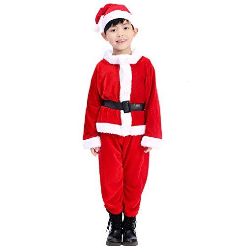 Kids Boys Christmas Santa Costume Set Red Velvet with Santa Hat and Belt (Santa Boy Costume)