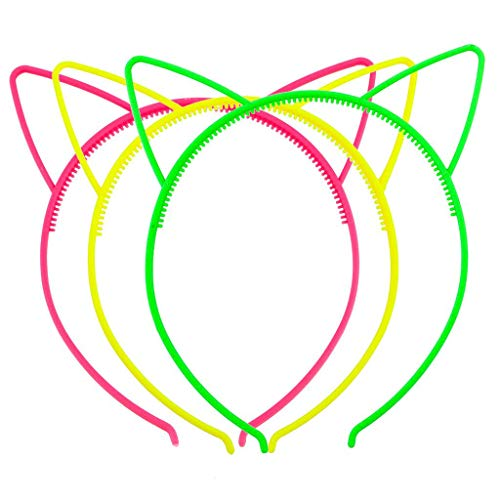 Lux Accessories Shades of Neon Cat Ear Headband for Girls Party Favor Set (3pcs)