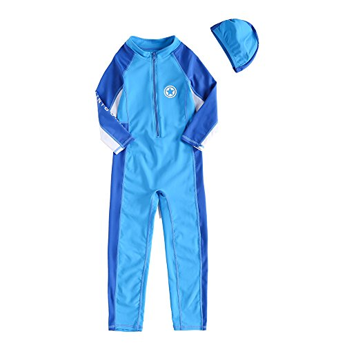 04b19e15ba Vivobiniya Kid Girl One-Piece Swimsuits Long Sleeves Contrast Color Upf50+  3-8T (