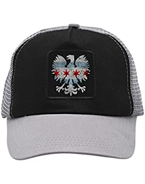 Unisex Polish Eagle Chicago Flag Trucker Hat Adjustable Mesh Cap