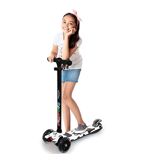 3 Wheel Kick Scooter. for Kids 2-12 Years, Premium Aluminum , Adjustable Height, PU Wheel with LED Rear Lights. 4 Years Warranty. 5 Colors (B&W + Bonus Book - Scooter Cheap Moped