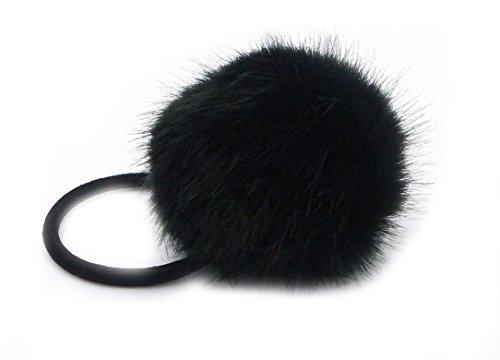 YABINA Women Girls Artificial Rabbit Fur Ball Hair Tie Rope Rubber Bands Elastic Ponytail Holders (Black)