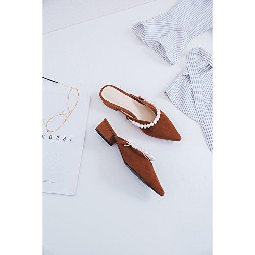 Été Chaussons Sandal Mode Sandales Plat De Femmes Wsxy Brown l0520 Accessoires Chaussures Pantoufles Lngxe Perles Des Plage PZ14Zq